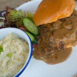 Salut Bar And Grill Homemade Beef Burger In Diane Sauce