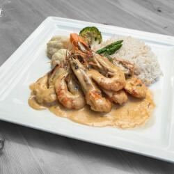 Salut Bar And Grill King Prawns With Ouzo Sauce